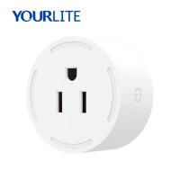 Home Power Wireless Mini USA Wall Electric Plugs, 10A 100-240V Tuya Remote Control Wi-Fi Smart Plug