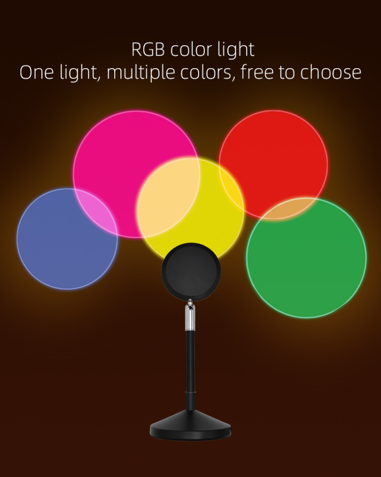 USB Rainbow UFO Sunset Red Projector Led Night Light Sun Projection Desk Lamp for Bedroom Coffee Store Wall Decoration