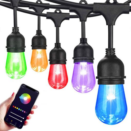 Tuya Wi-Fi String LED Lights Outdoor, PC Cover 12V 0.3W RGBW String Lights LED