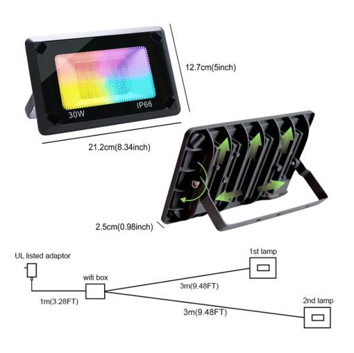 Smart Floodlights Wi-Fi Remote Control Landscape Lights Outdoor Party Lights RGBW