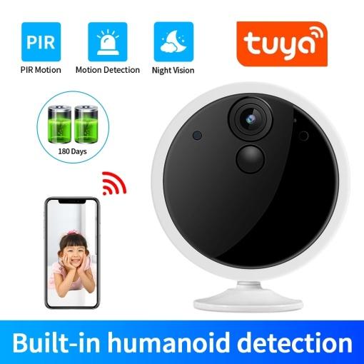 2021 Tuya 1080P Smartlife App Wireless Battery WiFi Security Home Camera 2MP HD PIR Surveillance CCTV Camera Smart Notif