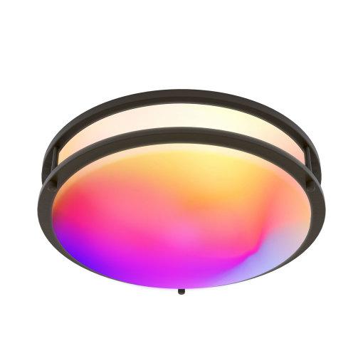 ETL/FCC Tuya Smart RGBW Double Ring Flush Mount LED Ceiling Light, 2.4G Wi-Fi, 120V, 2700K-5000K Turnable White, Voice &