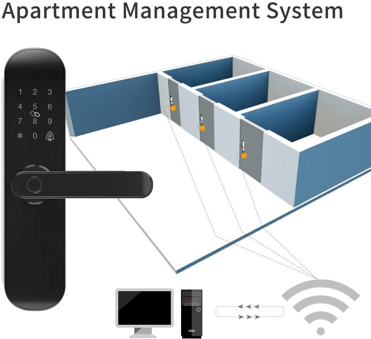 Wi-Fi Fingerprint Door Lock with Reversible Handle,Keyless Entry digital Lock ,TUYA APP,IC Card,Anti-peep Code