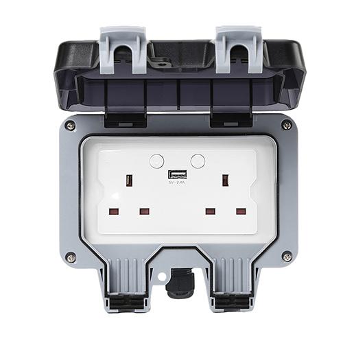 Smart Wi-Fi Bluetooth Zigbee UK British Outdoor Socket IP66 Waterproof Socket Switch
