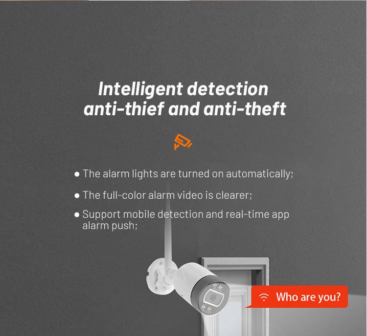 Tuya 3MP Waterproof Wireless Alarm Push Motion Humanoid Detection Outdoor Network Bullet Camera