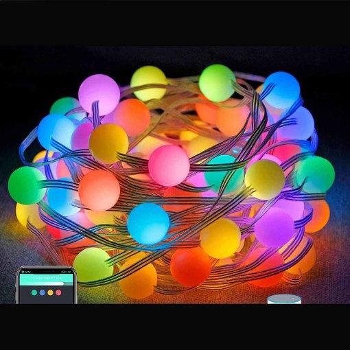 Smart Globe String Lights Ball String Lights work with Alexa Google Assistant Festoon Lights RGB Outdoor