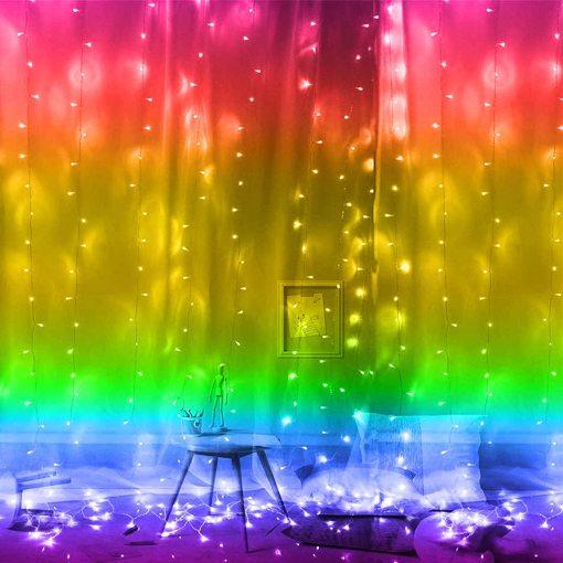 Smart Curtain Lights APP Remote Alexa Backdrop Light for Wedding LED Hanging Fairy String Lights Outdoor Indoor