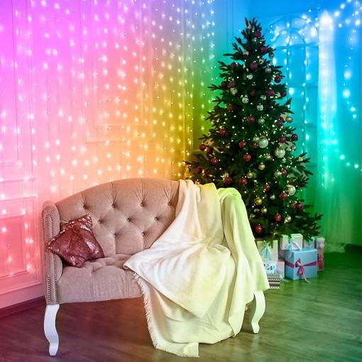Smart Curtain Lights Sparkling Background Light Wedding Backdrop LED Wall Hanging Rainbow Fairy String Lights