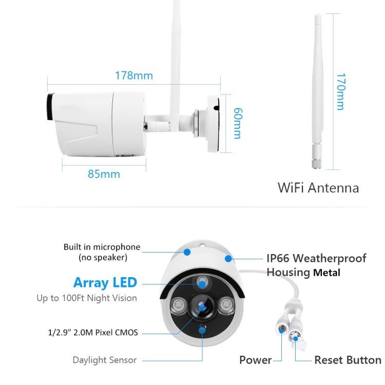 Unistone 4CH Outdoor Wireless WIFI 2MP CCTV Security Camera NVR KIT