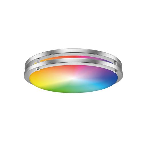 New product RGBCW LED Slim Flush Mount Light Double Ring Brushed Nickel 16''