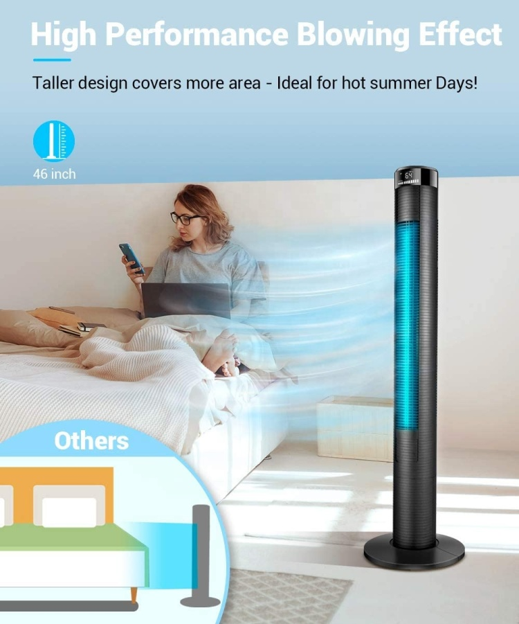 46'' Tower Fan Oscillating Digital Tower Fan With Remote Control