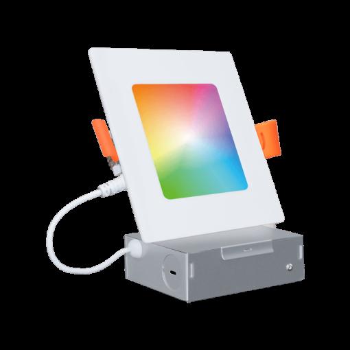 Wi-Fi RGBCW LED Recessed Slim Downlight 4'' Square